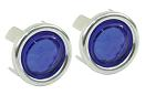 Blue Dots with Chrome Rings (Pair)